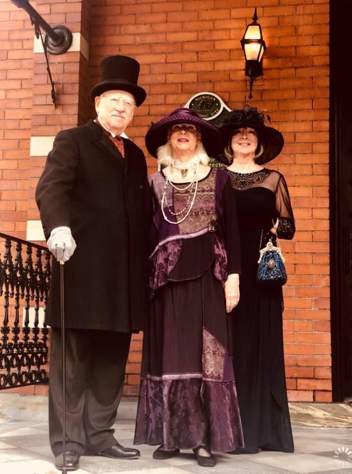 LLA members and Gargoyle greeting guests at the Downton Abbey Tea. Kalamazoo, MI